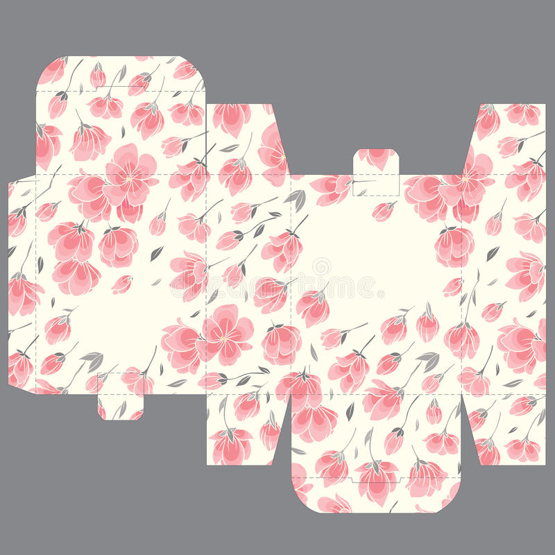 Πρότυπο σχεδίου κιβωτίων κύβων γαμήλιας εύνοιας δώρων με το σχέδιο sakura ελεύθερη απεικόνιση δικαιώματος