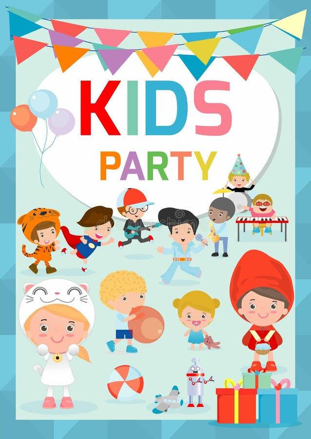 Πρότυπο σχεδίου κόμματος παιδιών, ευτυχές ιπτάμενο εορτασμού κομμάτων παιδιών, έμβλημα ή τεύχος, πρότυπο για τη διαφήμιση του φυλ ελεύθερη απεικόνιση δικαιώματος