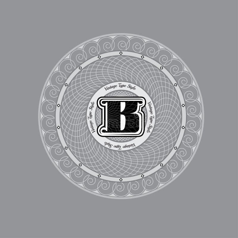 Πρότυπο σχεδίου μονογραμμάτων Spirographic με το κεφαλαίο γράμμα Β στο κέντρο διανυσματική απεικόνιση