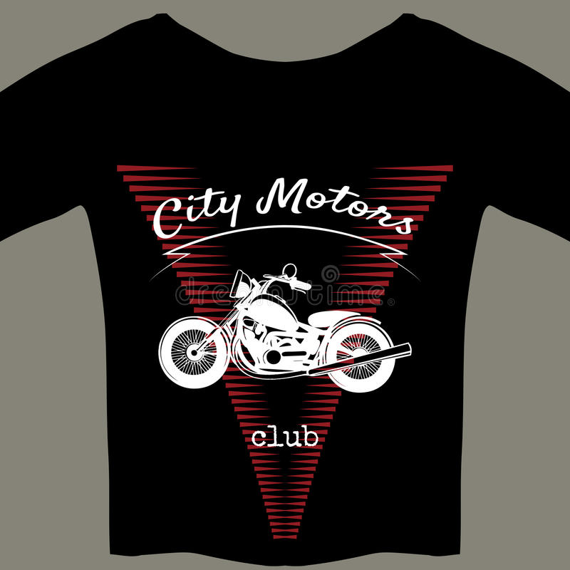 Πρότυπο σχεδίου μοτοσικλετών για την μπλούζα απεικόνιση αποθεμάτων