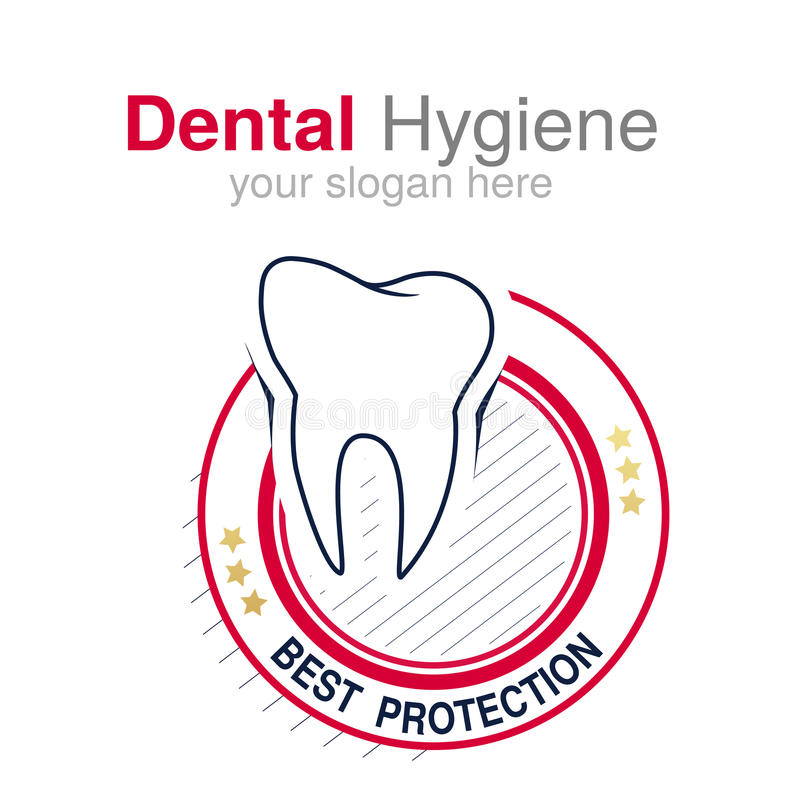 Πρότυπο σχεδίου λογότυπων οδοντιάτρων Σύμβολο δοντιών για την οδοντική κλινική ή σημάδι για την οδοντική υγιεινή Κυκλικό κόκκινο  ελεύθερη απεικόνιση δικαιώματος