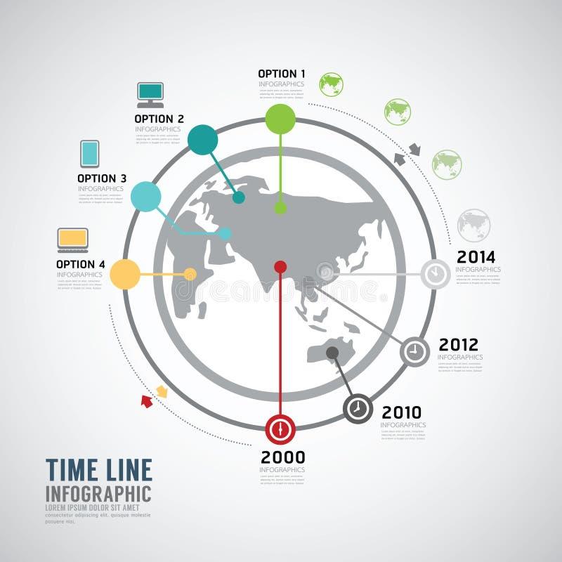 Πρότυπο σχεδίου παγκόσμιων διανυσματικό κύκλων Infographic υπόδειξης ως προς το χρόνο απεικόνιση αποθεμάτων