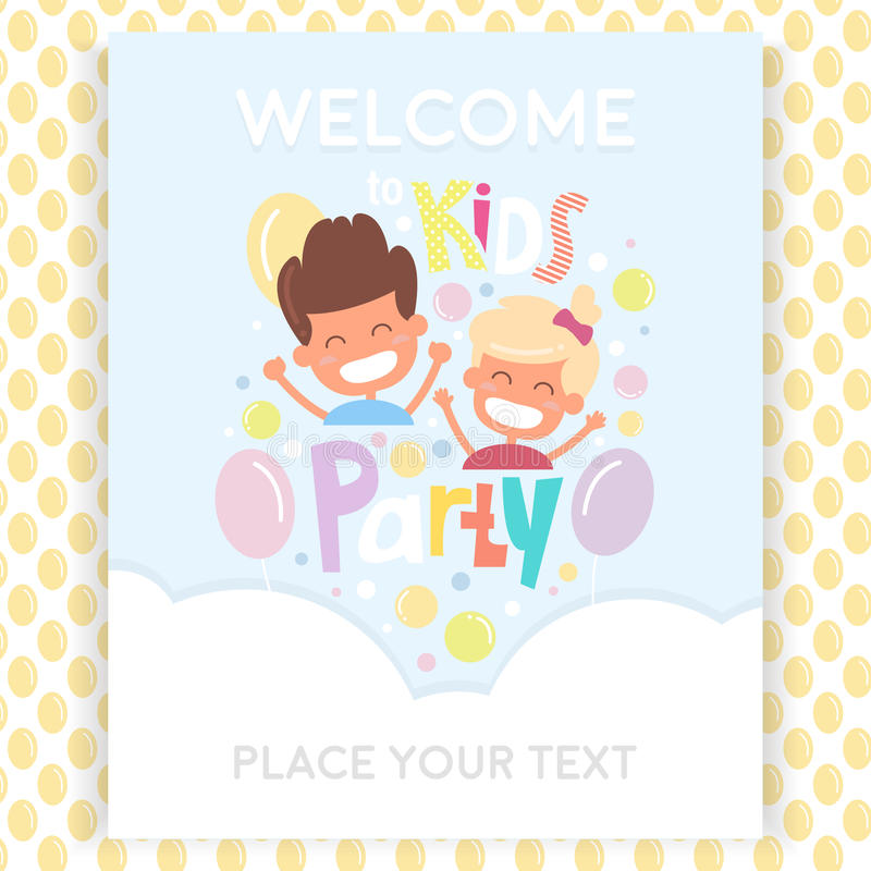 Πρότυπο σχεδίου πρόσκλησης κομμάτων παιδιών με τα ευτυχή παιδιά Άνευ ραφής σχέδιο με τα μπαλόνια swatches διανυσματική απεικόνιση