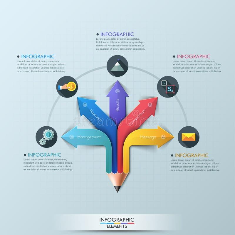 Πρότυπο σχεδίου Infographic μολυβιών βελών ελεύθερη απεικόνιση δικαιώματος