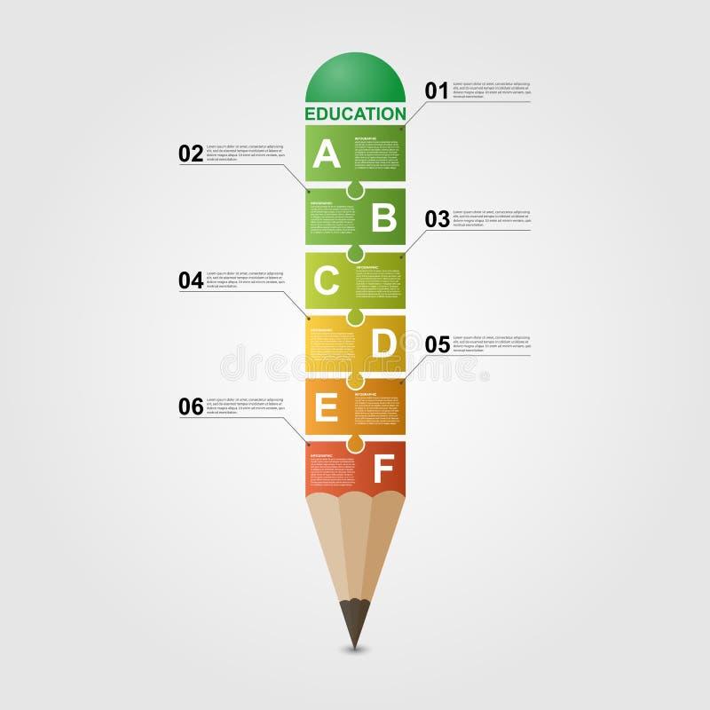 Πρότυπο σχεδίου Infographic μολυβιών εκπαίδευσης απεικόνιση αποθεμάτων