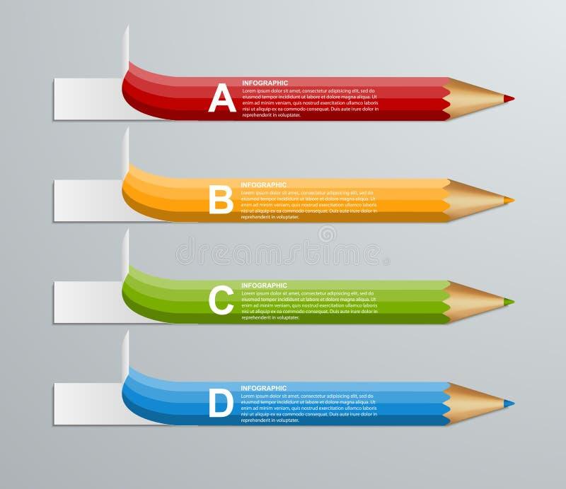 Πρότυπο σχεδίου Infographics επιλογής μολυβιών εκπαίδευσης ελεύθερη απεικόνιση δικαιώματος
