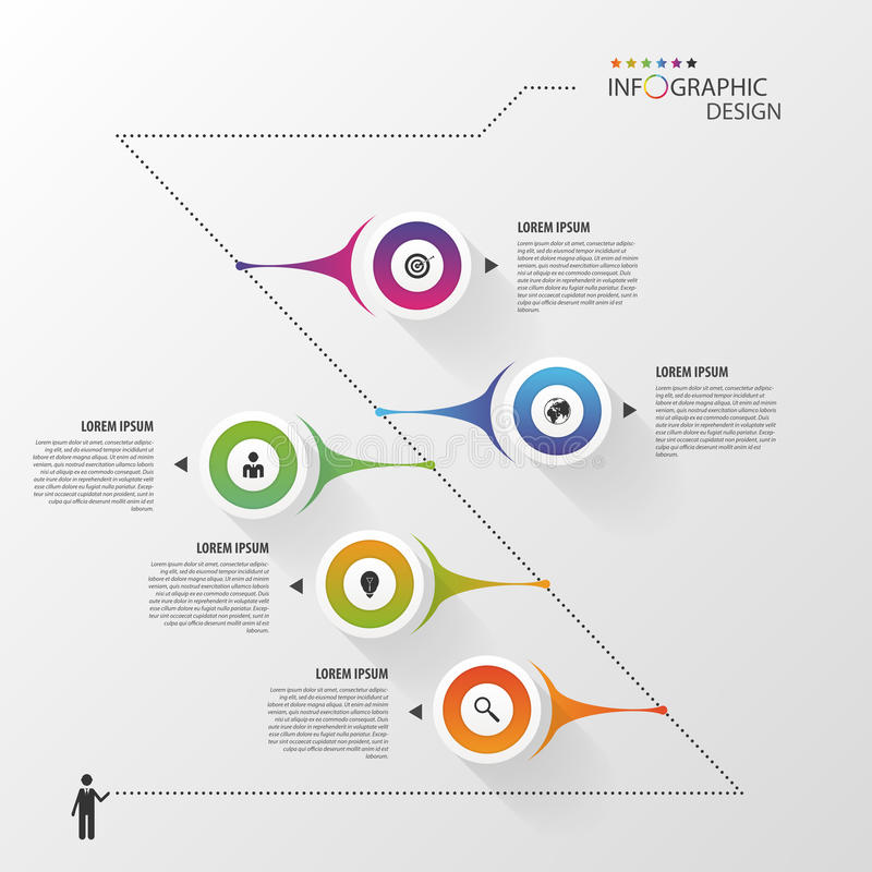 Πρότυπο σχεδίου Infographics υπόδειξης ως προς το χρόνο διάνυσμα απεικόνιση αποθεμάτων