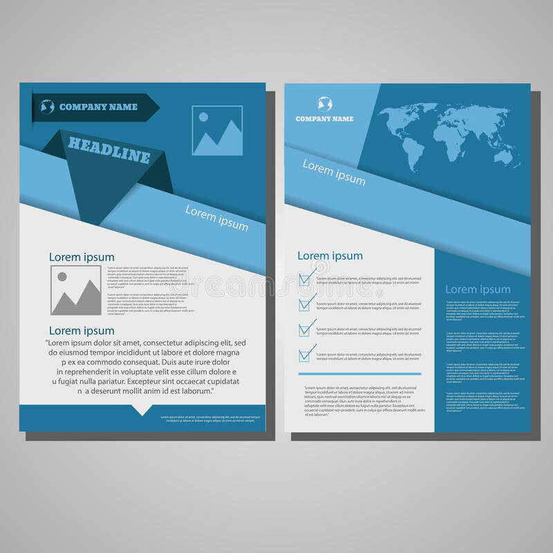 Πρότυπο σχεδιαγράμματος σχεδίου ιπτάμενων φυλλάδιων, μέγεθος A4, πρώτη σελίδα διανυσματική απεικόνιση