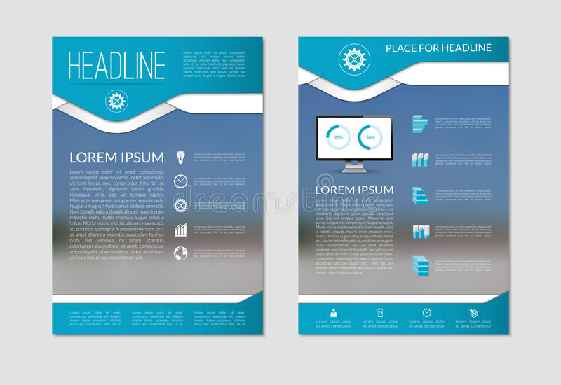 Πρότυπο σχεδιαγράμματος σχεδίου φυλλάδιων ιπτάμενων με το θολωμένο υπόβαθρο A4 μέγεθος διανυσματική απεικόνιση