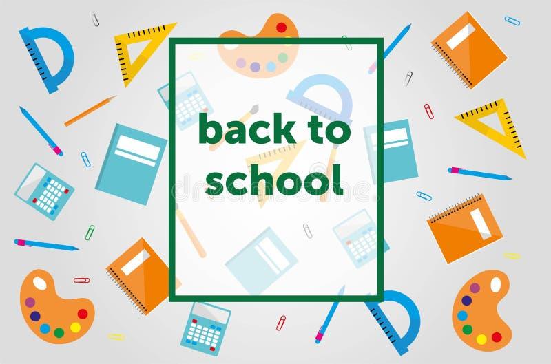 """Πρότυπο σύγχρονου σχεδίου με τα σχολικά εξαρτήματα και """"πίσω στο σχολείο """"που γράφει ελεύθερη απεικόνιση δικαιώματος"""