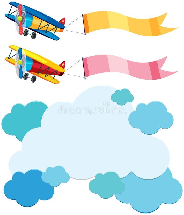 Πρότυπο σύννεφων και δύο αεροπλάνα με τις σημαίες διανυσματική απεικόνιση