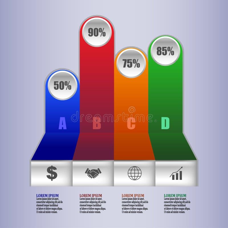 Πρότυπο τέσσερα Infographic επιλογές ή βήμα για την επιχείρηση στις στήλες επίσης corel σύρετε το διάνυσμα απεικόνισης percent διανυσματική απεικόνιση