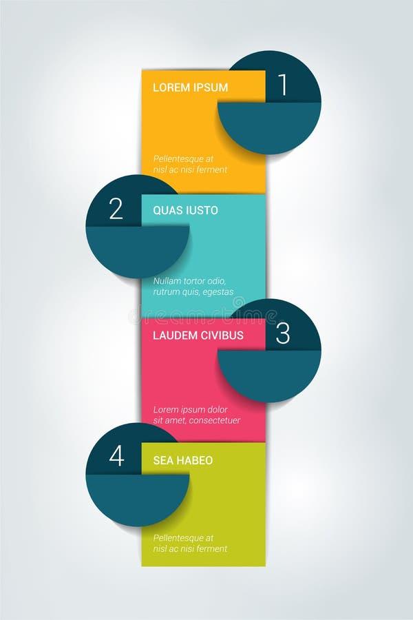 Πρότυπο τεσσάρων βημάτων Αριθμημένο διάγραμμα διανυσματική απεικόνιση