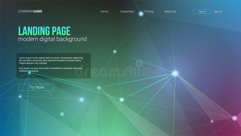 Πρότυπο της διανυσματικής επιγραφής με τα ψηφιακά στοιχεία Τεχνολογικών και εφαρμοσμένης μηχανικής σχέδια υποβάθρου Cyber, γεωμετ διανυσματική απεικόνιση