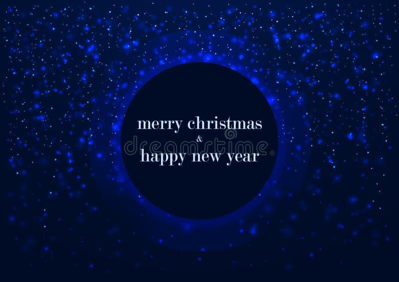 Πρότυπο της ευχετήριας κάρτας, της Χαρούμενα Χριστούγεννας και καλής χρονιάς, με το στρογγυλό πλαίσιο, του καμμένος snowflakes μπ διανυσματική απεικόνιση