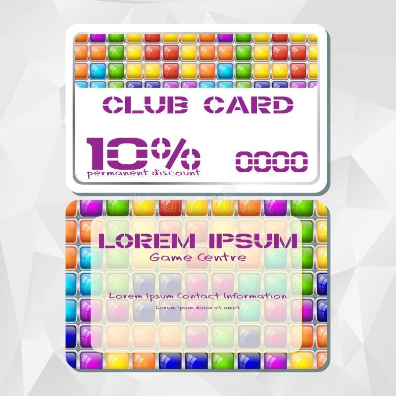 Πρότυπο της κάρτας έκπτωσης στο ύφος παιχνιδιών κεραμιδιών απεικόνιση αποθεμάτων