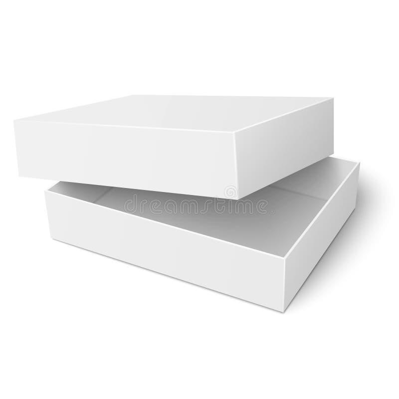 Πρότυπο του άσπρου κουτιού από χαρτόνι με το ανοιγμένο καπάκι ελεύθερη απεικόνιση δικαιώματος