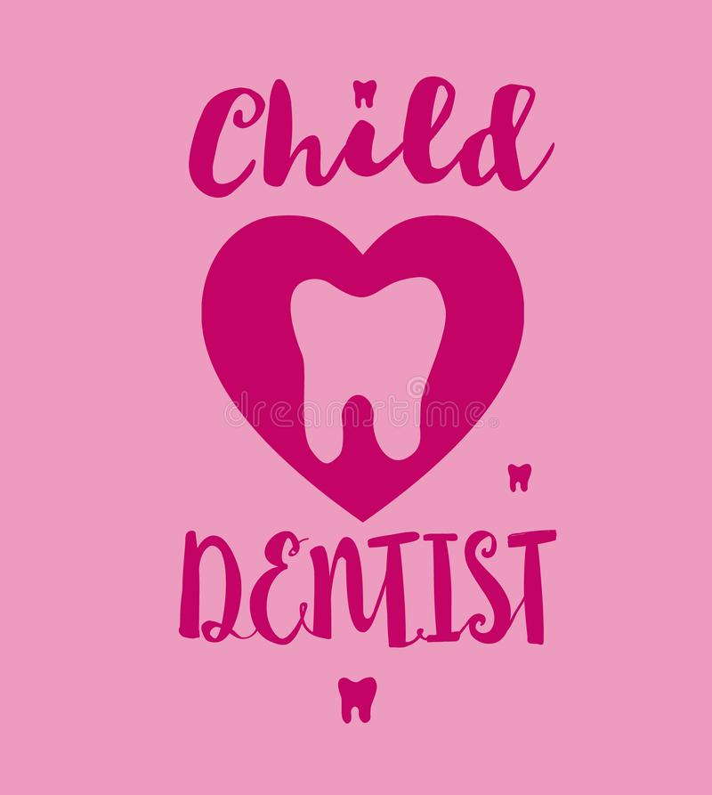 Πρότυπο του λογότυπου οδοντιάτρων παιδιών με το δόντι κινούμενων σχεδίων Το ρόδινο χέρι χρωμάτων σκιαγράφησε την τυπογραφία εγγρα ελεύθερη απεικόνιση δικαιώματος