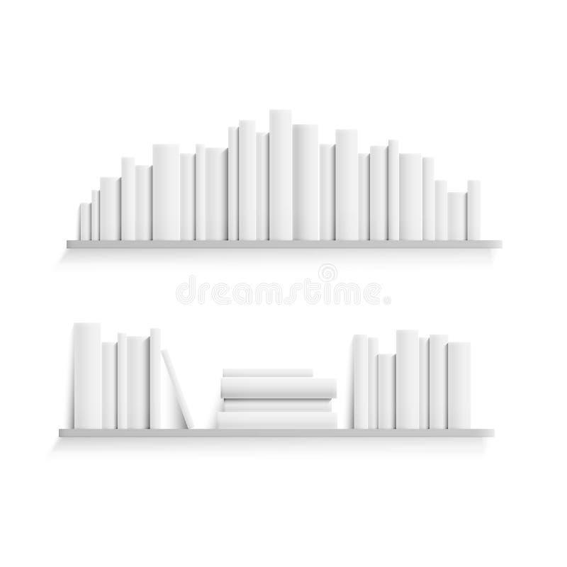 Πρότυπο του ραφιού με τα κενά άσπρα βιβλία στον τοίχο Ρεαλιστικός σωρός των βιβλίων εγγράφου Απεικόνιση που απομονώνεται διανυσμα ελεύθερη απεικόνιση δικαιώματος