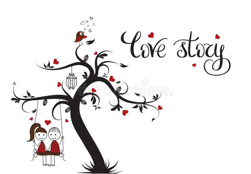 Πρότυπο του Love Story για το έμβλημα ή την αφίσα Εγγραφή διακοπών απεικόνιση αποθεμάτων
