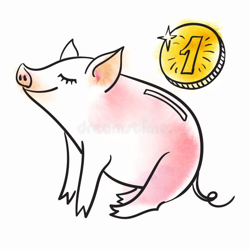 Πρότυπο τραπεζών Piggy για τη ευχετήρια κάρτα Γραπτή γραμμική διανυσματική απεικόνιση Ο χοίρος είναι ένα σύμβολο του νέου έτους ελεύθερη απεικόνιση δικαιώματος