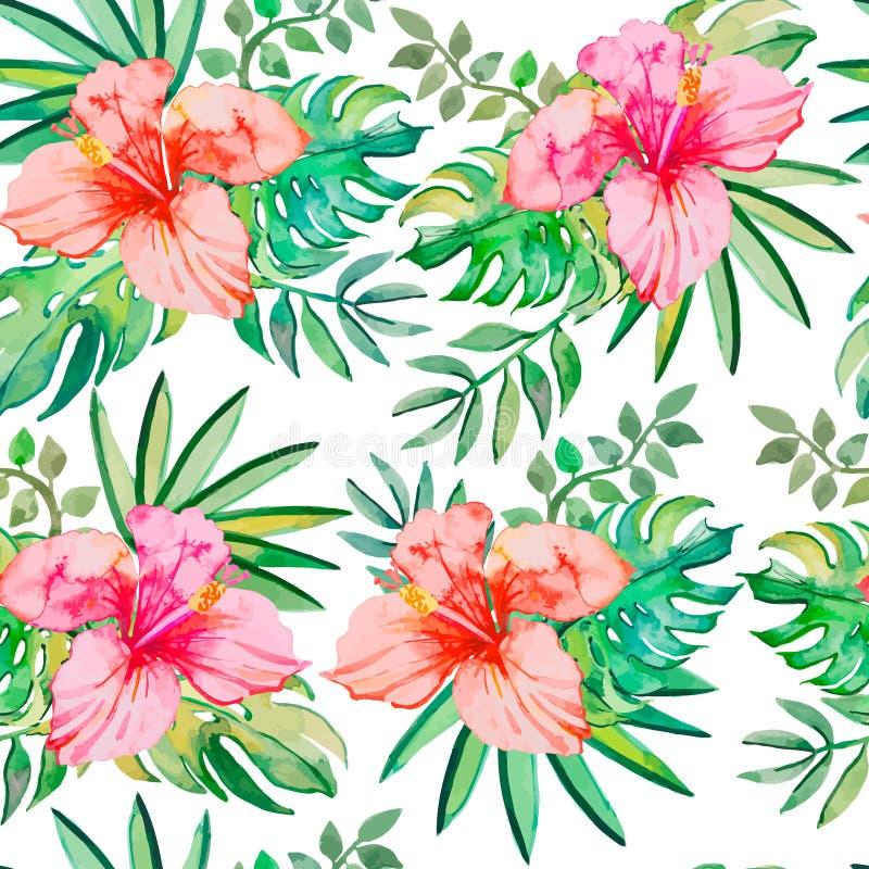 πρότυπο τροπικό Τροπικά λουλούδια και φύλλα για διανυσματική απεικόνιση