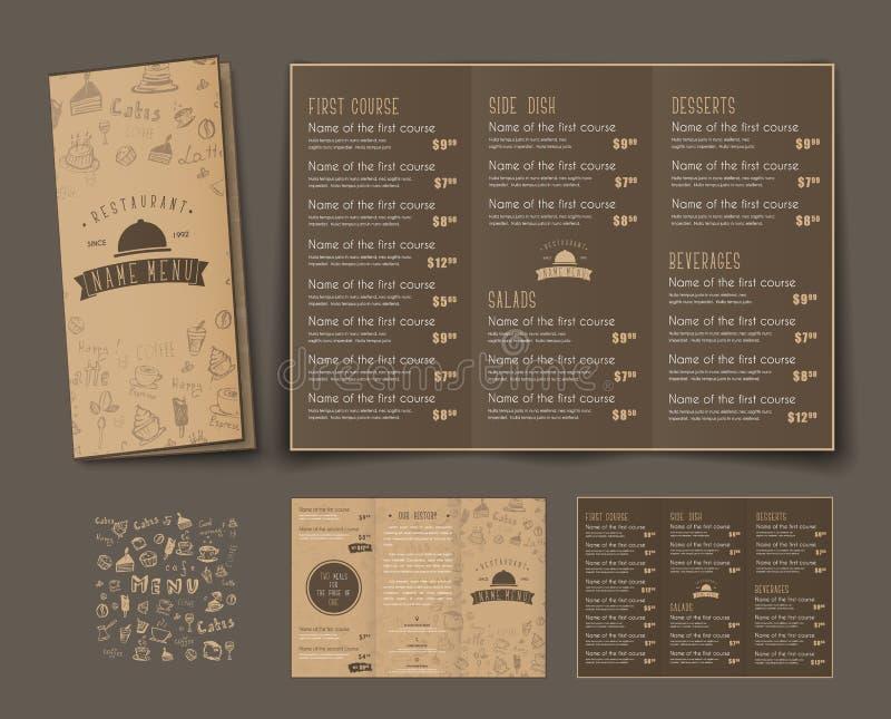 Πρότυπο των αναδρομικών διπλώνοντας τριπλών επιλογών για τους καφέδες και τα εστιατόρια απεικόνιση αποθεμάτων