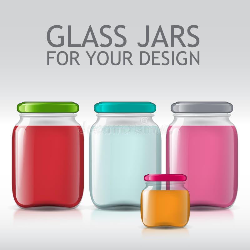 Πρότυπο των βάζων γυαλιού Χυμός μπουκαλιών, μαρμελάδα, υγρά διανυσματική απεικόνιση