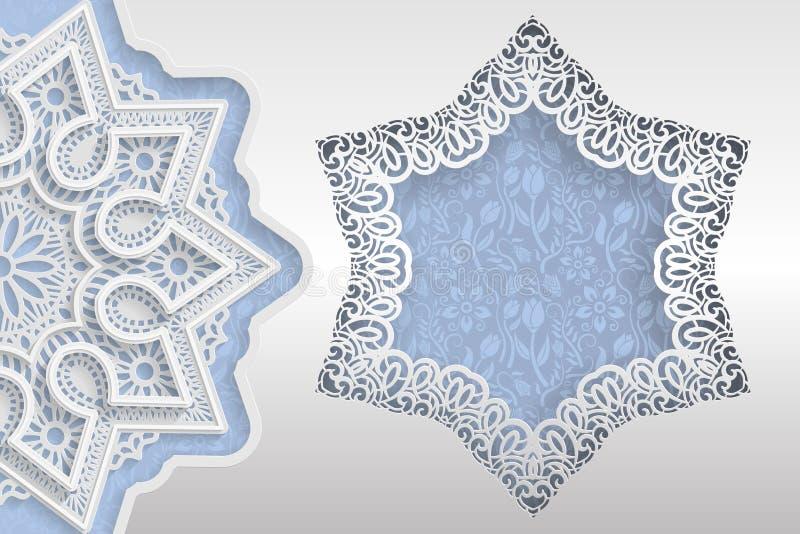 Πρότυπο των γαμήλιων χαιρετισμών ή των προσκλήσεων τρισδιάστατο mandala, διαμορφωμένο αστέρι πλαίσιο με τις άκρες δαντελλών Flora ελεύθερη απεικόνιση δικαιώματος