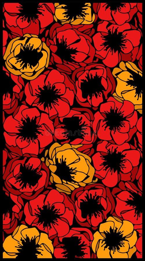 Πρότυπο των λουλουδιών παπαρουνών διανυσματική απεικόνιση