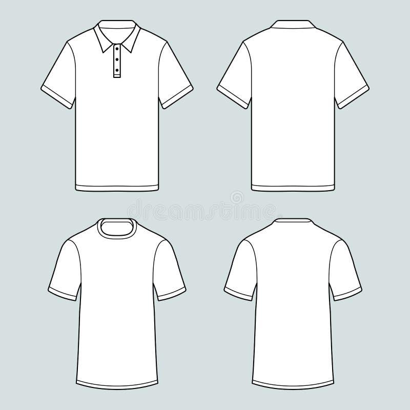 Πρότυπο των μπλουζών και του μανικιού πουκάμισων πόλο whith απότομα απεικόνιση αποθεμάτων