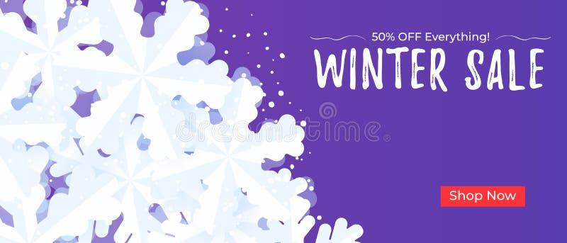 Πρότυπο υποβάθρου εμβλημάτων χειμερινής πώλησης με snowflakes και το χιόνι διανυσματική απεικόνιση