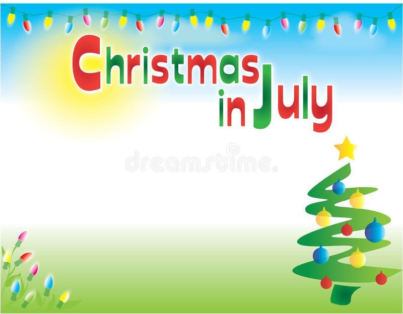 Πρότυπο υποβάθρου ιπτάμενων καρτών Χριστουγέννων τον Ιούλιο οριζόντιο ελεύθερη απεικόνιση δικαιώματος