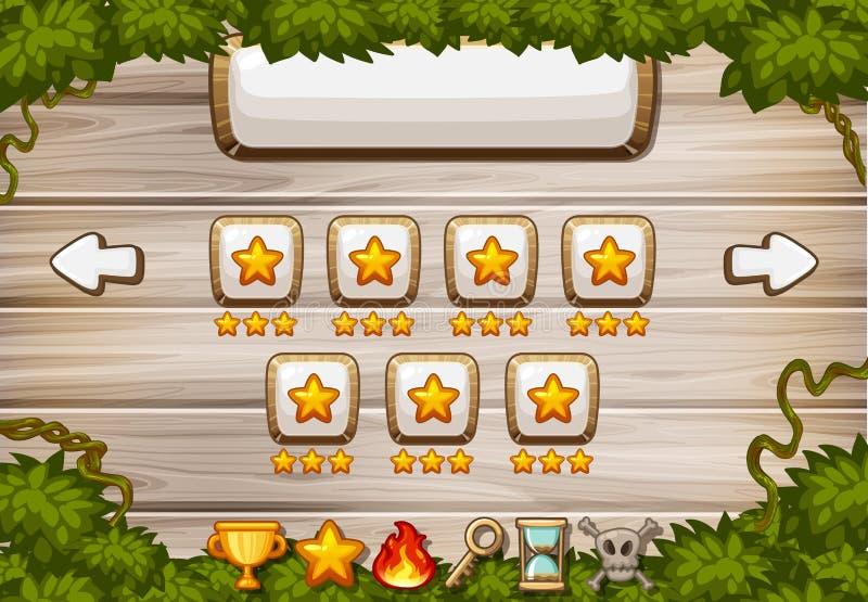 Πρότυπο υποβάθρου παιχνιδιών με τα ξύλινα κουμπιά πινάκων και αστεριών διανυσματική απεικόνιση
