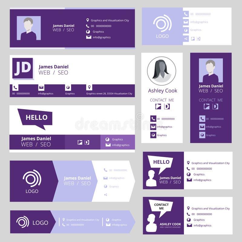 Πρότυπο υπογραφών ηλεκτρονικού ταχυδρομείου Κάρτες επιχειρησιακής επίσκεψης γραφείων για το διανυσματικό σύνολο ενδιάμεσων με τον διανυσματική απεικόνιση