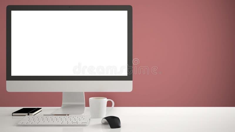 Πρότυπο υπολογιστών γραφείου, πρότυπο, υπολογιστής στο γραφείο εργασίας με την κενή οθόνη, ποντίκι πληκτρολογίων και σημειωματάρι στοκ εικόνα με δικαίωμα ελεύθερης χρήσης