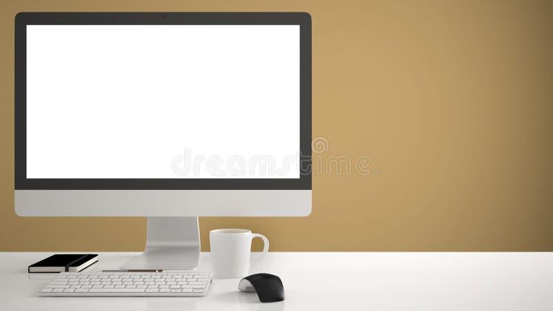 Πρότυπο υπολογιστών γραφείου, πρότυπο, υπολογιστής στο γραφείο εργασίας με την κενή οθόνη, ποντίκι πληκτρολογίων και σημειωματάρι στοκ εικόνες