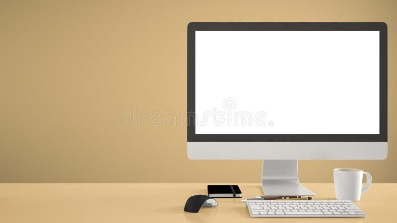 Πρότυπο υπολογιστών γραφείου, πρότυπο, υπολογιστής στο κίτρινο γραφείο εργασίας με την κενή οθόνη, ποντίκι πληκτρολογίων και σημε στοκ εικόνα