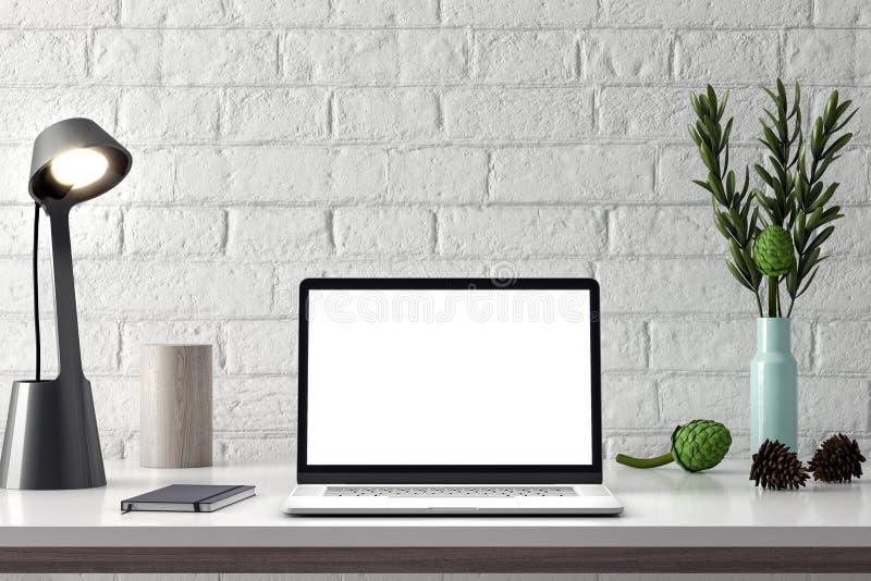 Πρότυπο υπολογιστών, οθόνη PC στον πίνακα στην αρχή, τρισδιάστατη απόδοση του χώρου εργασίας στοκ φωτογραφίες με δικαίωμα ελεύθερης χρήσης