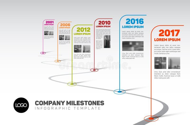 Πρότυπο υπόδειξης ως προς το χρόνο κύριων σημείων επιχείρησης Infographic διανυσματική απεικόνιση