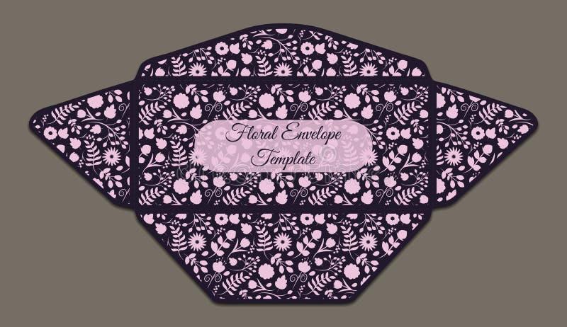 Πρότυπο φακέλων με το floral σχέδιο διανυσματική απεικόνιση