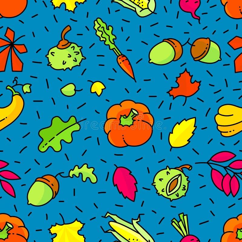 πρότυπο φθινοπώρου άνευ ρ&al Υπόβαθρο εποχής πτώσης με τα φύλλα και διανυσματική απεικόνιση