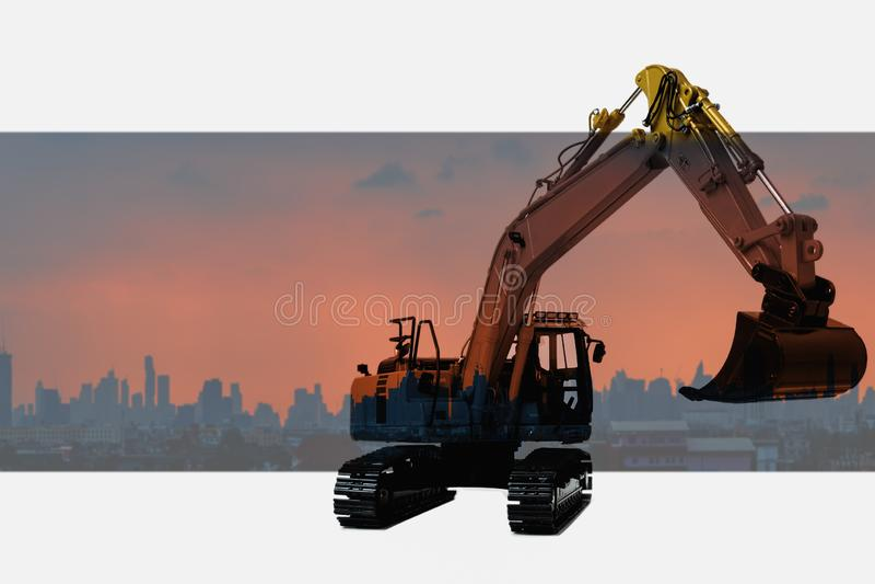 Πρότυπο φορτωτών εκσκαφέων με την άποψη πανοράματος επάνω στην πόλη στοκ εικόνες