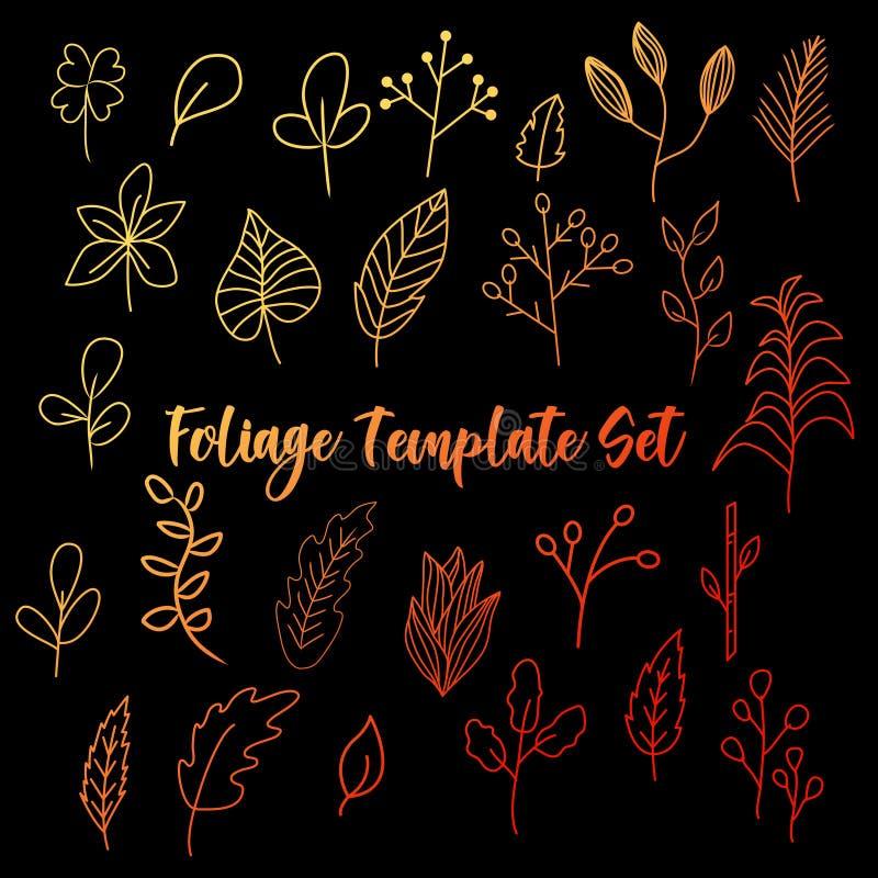 Πρότυπο φυλλώματος doodle, απλή διάνυσμα φυλλώματος, φύση και λουλούδι διανυσματική απεικόνιση