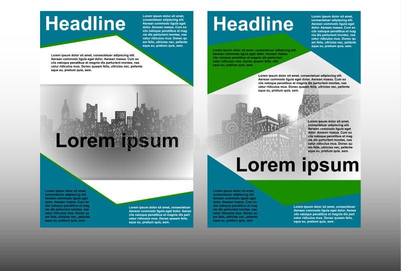Πρότυπο φυλλάδιων με τη εικονική παράσταση πόλης απεικόνιση αποθεμάτων