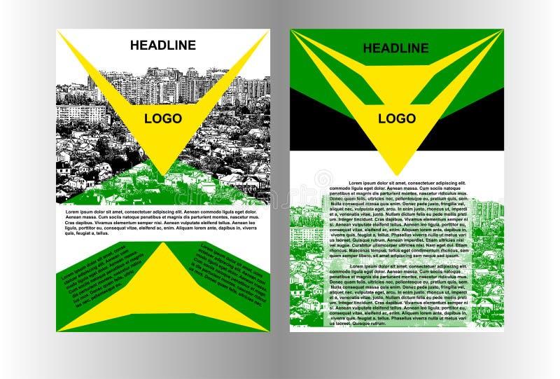 Πρότυπο φυλλάδιων με το βέλος εικονικής παράστασης πόλης ελεύθερη απεικόνιση δικαιώματος