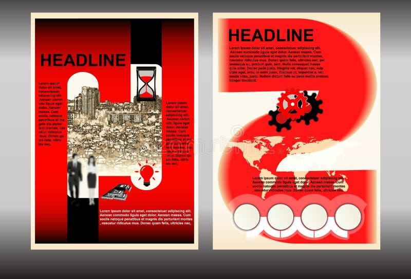 Πρότυπο φυλλάδιων με το κόκκινο χρώματος εικονικής παράστασης πόλης απεικόνιση αποθεμάτων