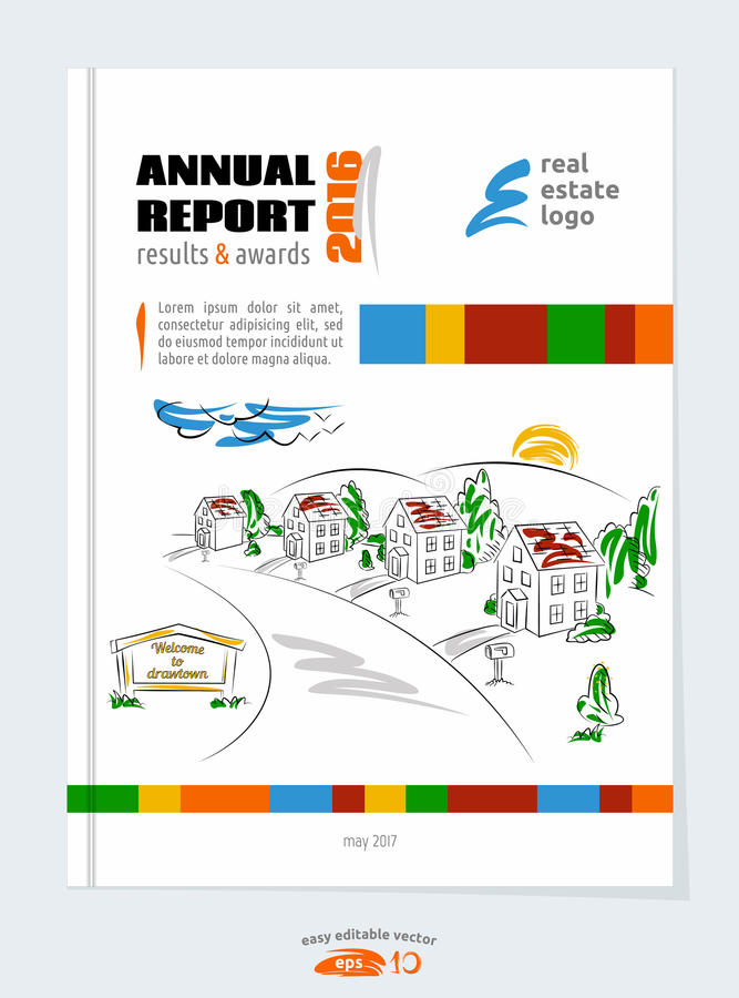Πρότυπο φυλλάδιων, σχέδιο κάλυψης για το πρόγραμμα ακίνητων περιουσιών απεικόνιση αποθεμάτων