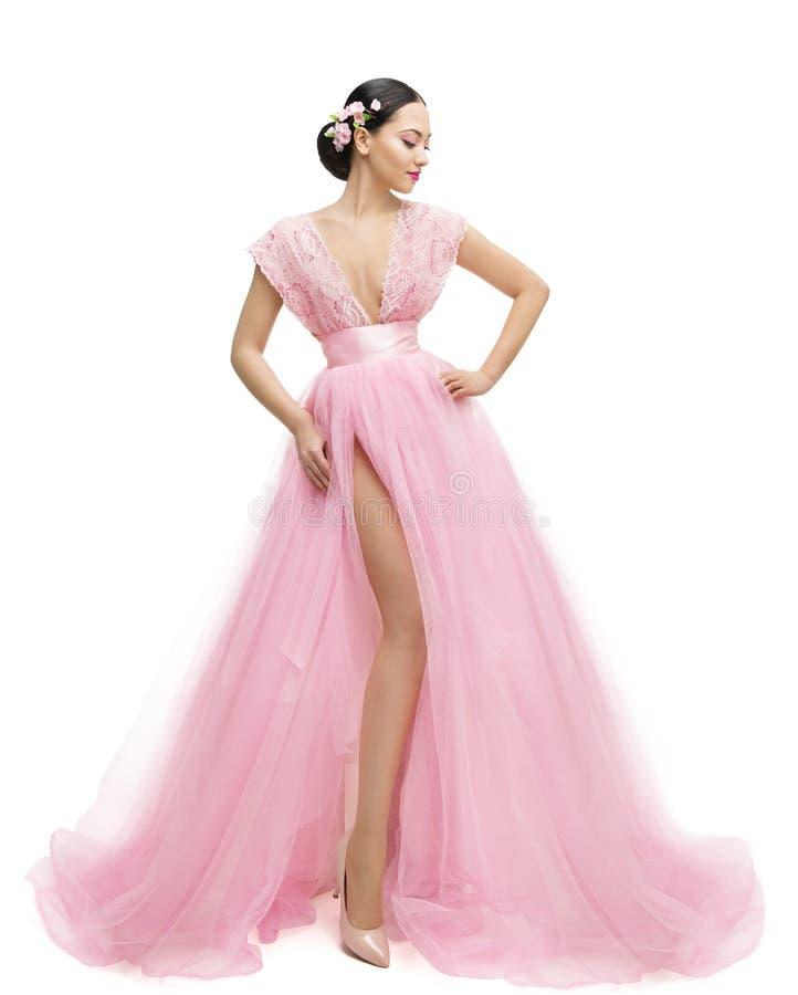 Πρότυπο φόρεμα μόδας, γυναίκα στα μακριά ρόδινα ενδύματα, ασιατικό κορίτσι στοκ εικόνες με δικαίωμα ελεύθερης χρήσης