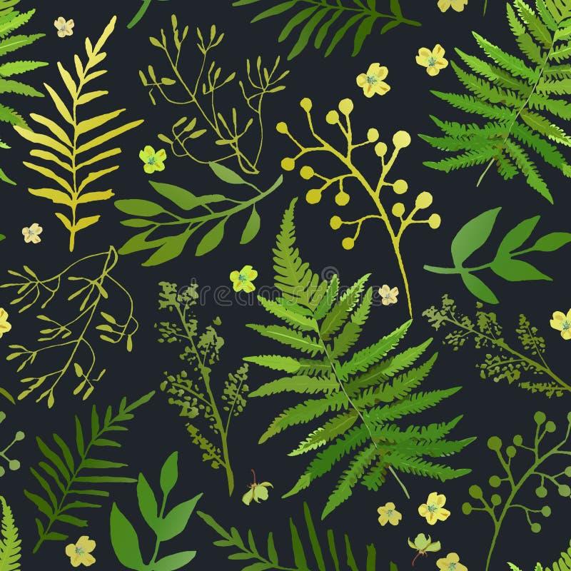 πρότυπο φύλλων άνευ ραφής Διανυσματικό floral σύνολο με το χέρι που σύρεται ελεύθερη απεικόνιση δικαιώματος